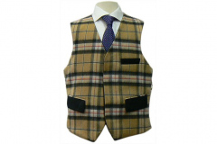 Navy & Check Cashmere Double Sided Waistcoat